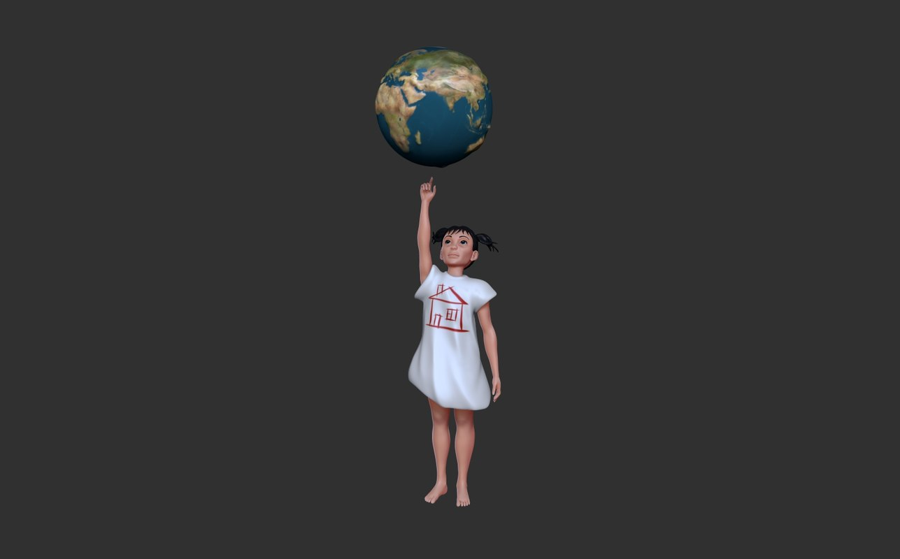 3D model earth child