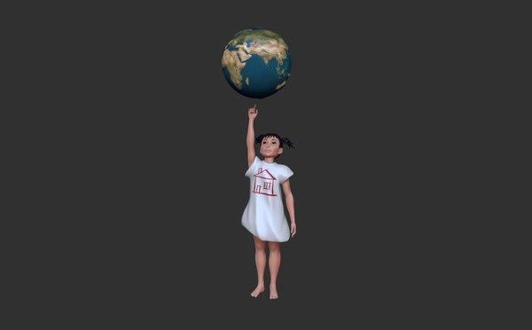 3D model earth child