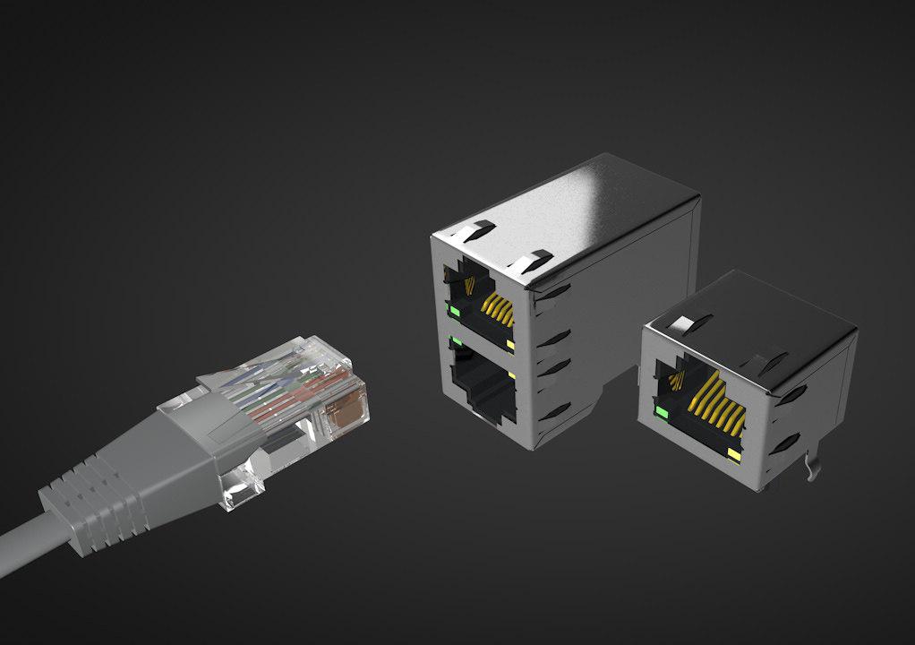 3D ethernet connector rj45 f model