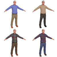 3D pack old man model
