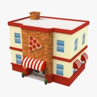 Cartoon Pizza Shop Low Poly 3D Model
