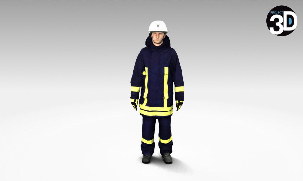 scanned german firefighter 3d model
