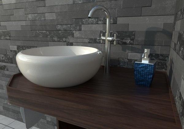 3D model ethnic cabinet sink