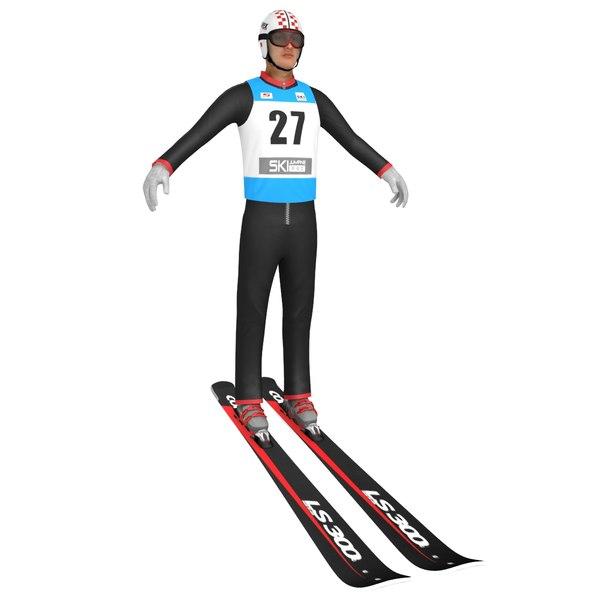 3d model winter ski jumper