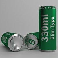 3D aluminium 330ml slim