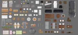 2d house furniture floorplan top view PSD 3D model render giant