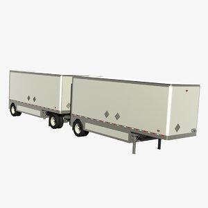 3d model double pup trailer 28ft