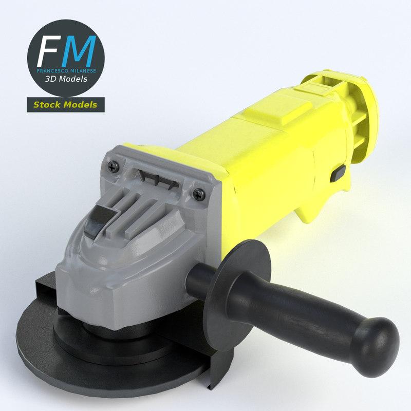 3d model angle grinder
