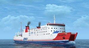 ro-ro ferry 3D