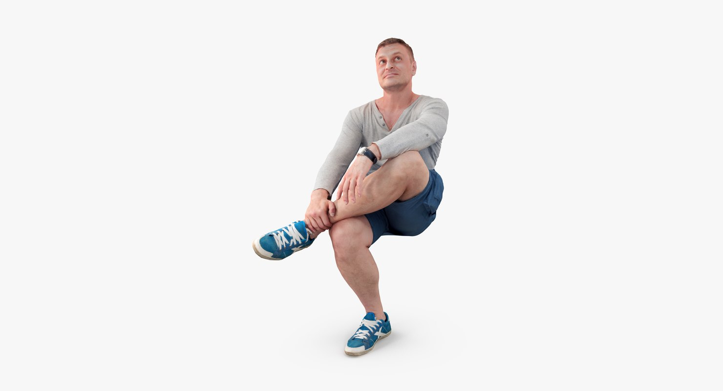 3d max man sitting casual