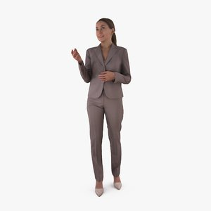 3D business woman talking human body