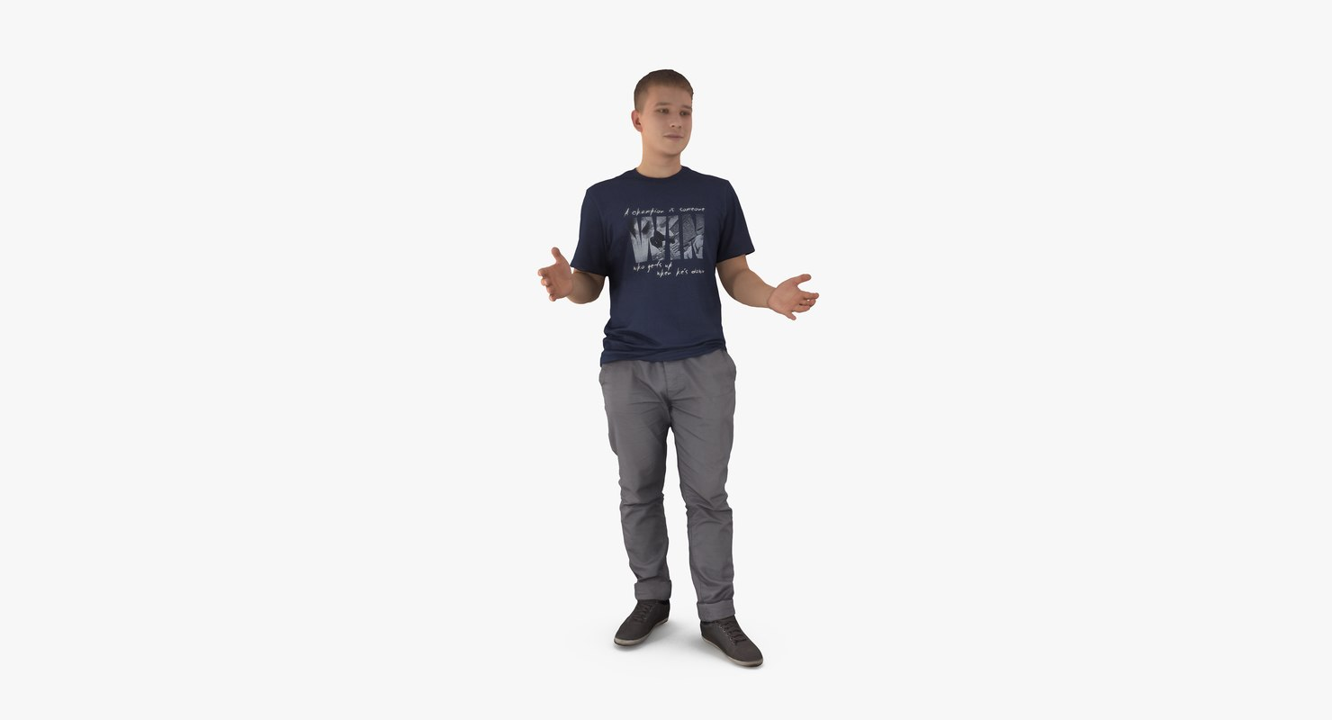 3d model of casual man