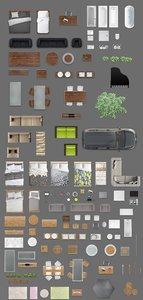2d furniture floorplan top view PSD 3D model render top plan top view