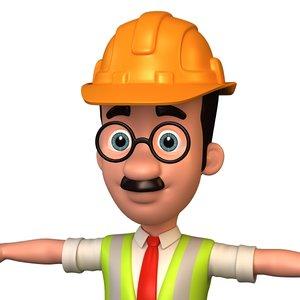 3D cartoon engineer