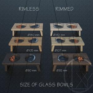 3D bowls food water