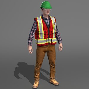 worker engineer work 3D model