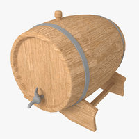 3d wooden beer barrel