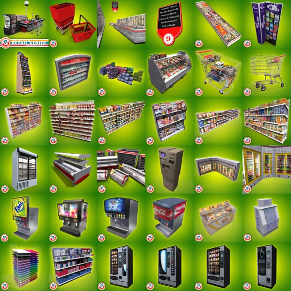 - grocery convenience stores 3d model