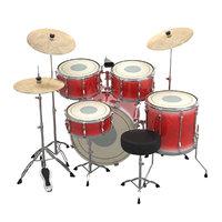 3D acoustic drums set kit model