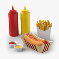 3D hot dog french fries