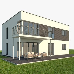 modern single family home 3d max