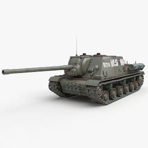tank isu 122 russian 3D model