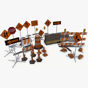 3d sign construction pack model