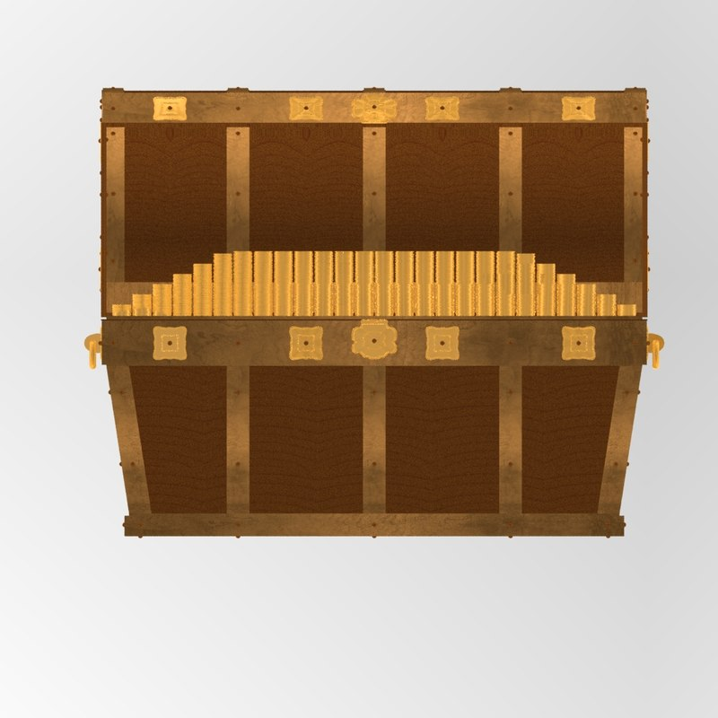 3d pirates chest coins angled