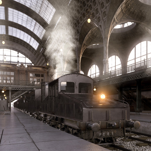 photorealistic train station la 3d max