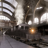 photorealistic train station la 3d max