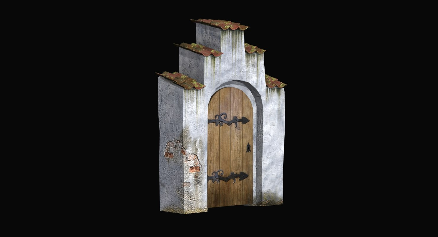 3d old portal wood door