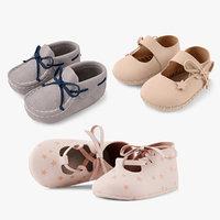 3d model of set baby shoe