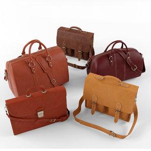 set leather bag 3d max