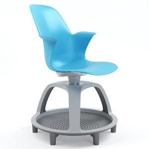 3D model steelcase node school chair