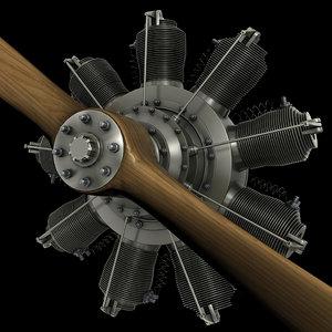 gnome 9n rotary engine obj