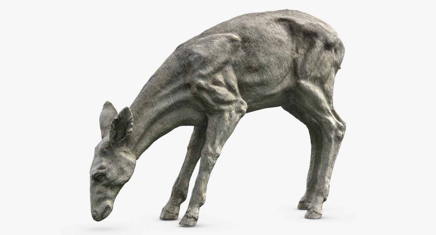 3d max young deer sculpture