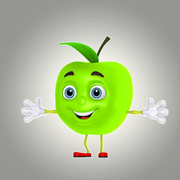 cartoon apple 3d model