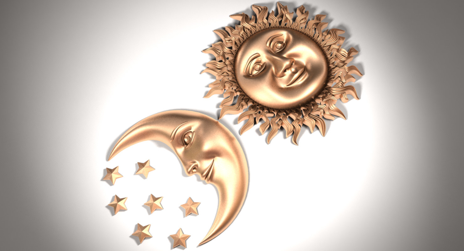 3D sun moon model