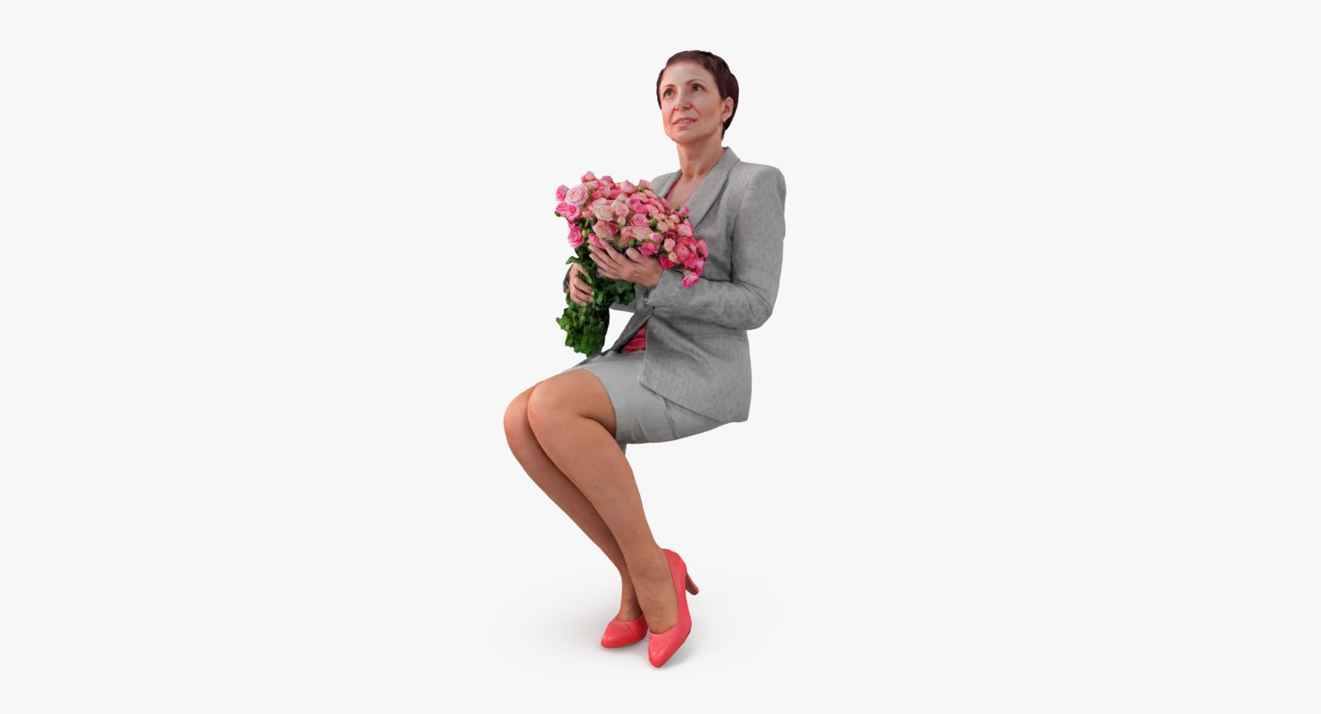 woman casual sitting 3d max