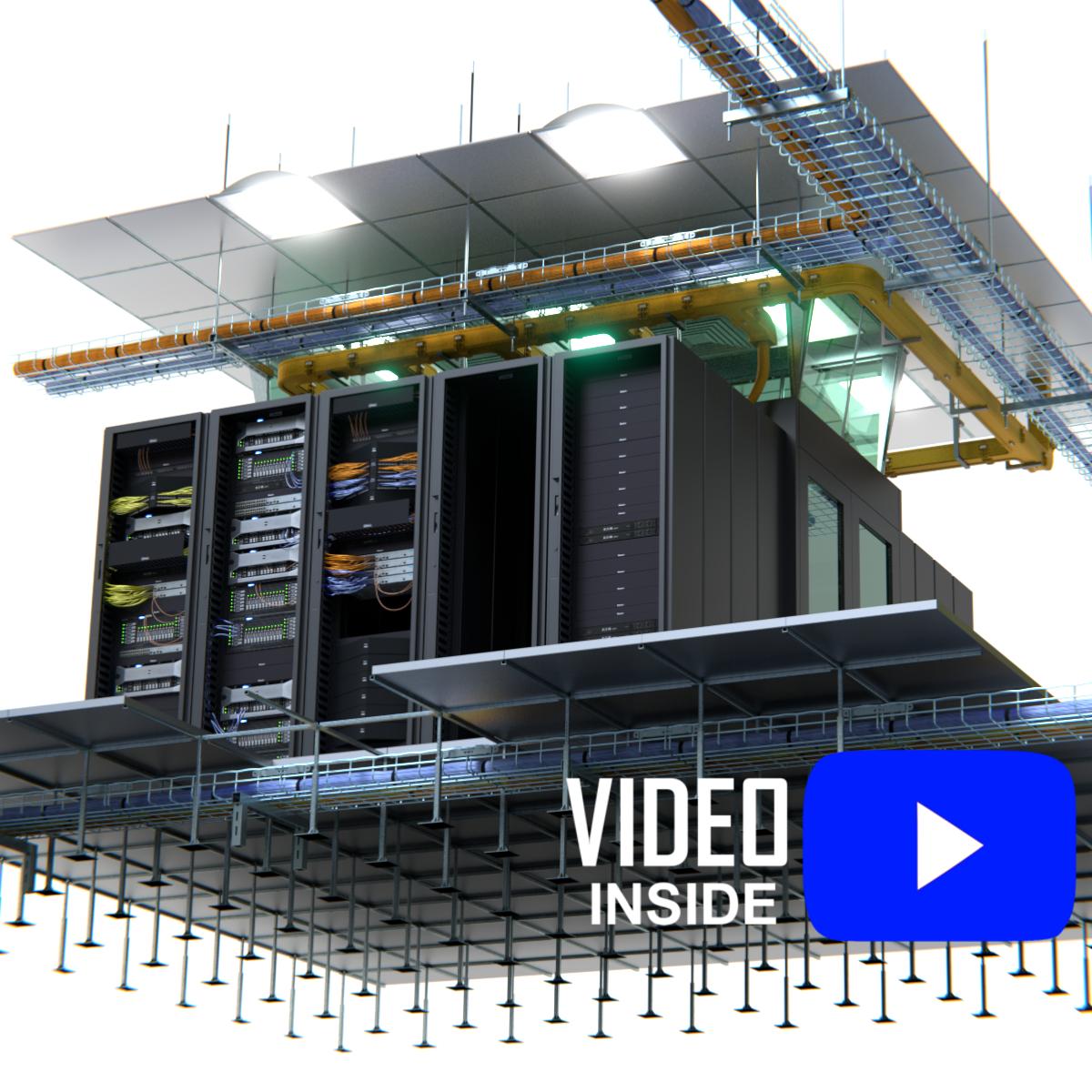 fully customizable data center 3d obj