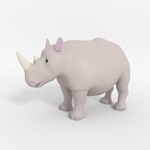 cartoon rhinoceros 3D model