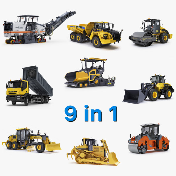 road construction compactor 3d model