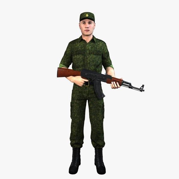 realistic russian soldier human 3D model
