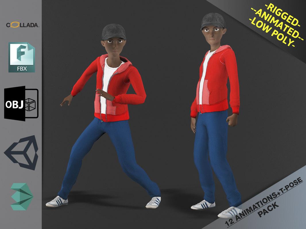 cartoon boy motion pack 3D model