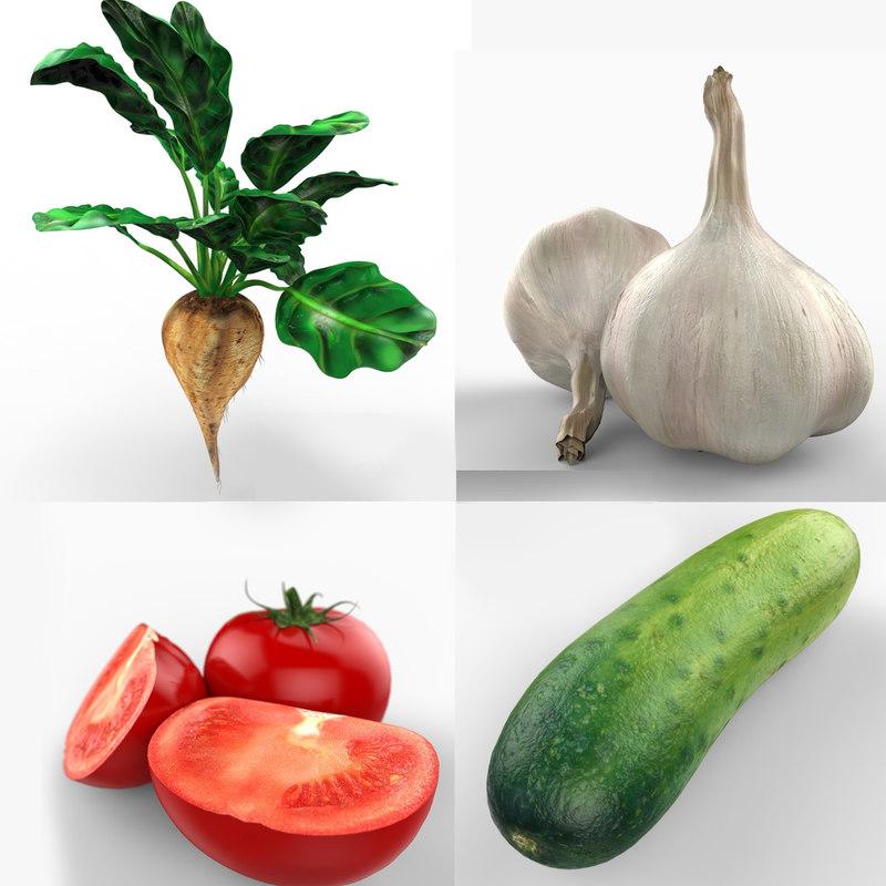 3d vegetables beet tomatoes model