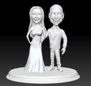 Wedding couple Cake 3D print 3D print model