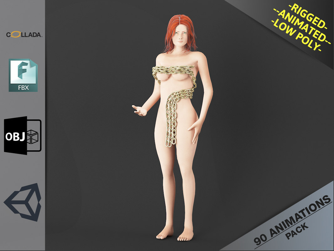 3D model naked girl1 animations pack