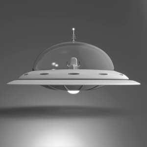 retro flying saucer 3D