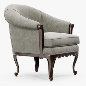 3d classic club armchair