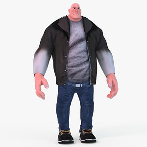heavy cartoon characters male body 3d max